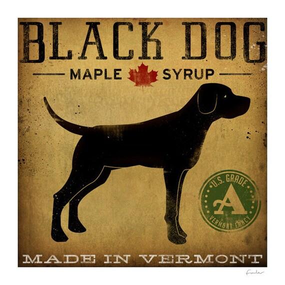 Custom Text Black Dog Maple Syrup GRAPHIC Art Print signed Labrador