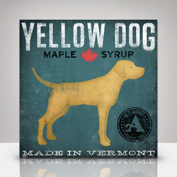 Lab LABRADOR DOG Mutt Maple Syrup illustration on Canvas Panel Wall Art  signed Gallery Wrapped Ready to hang