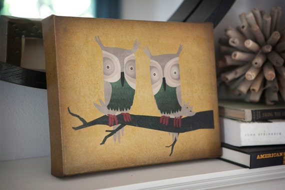 Owl TWO HOOTS Forest Woodland Gallery Wrapped Canvas Panel Signed