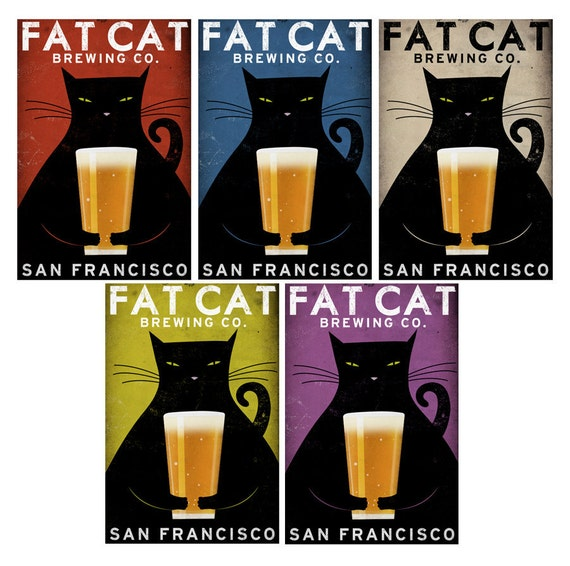 CUSTOM Personalized Fat Cat Brewing Company Black Cat Graphic Art Illustrationprint SIGNED