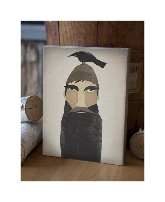 Lumberjack and Crow - Original Graphic Art Gallery Wrapped 9x12x1.5 inch CANVAS signed