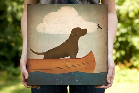 BROWN DOG Chocolate Lab Retriever Canoe Ride Gallery Wrapped Canvas  Signed and Dated  wall art