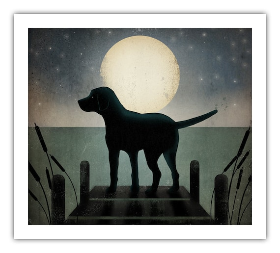20x20 Moonrise Dock Dog Graphic Art Illustration Giclee Print  inches signed