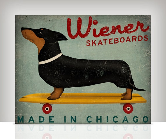 CUSTOM Wiener Dog Dachshund Skateboards Ready to Hang Stretched Canvas
