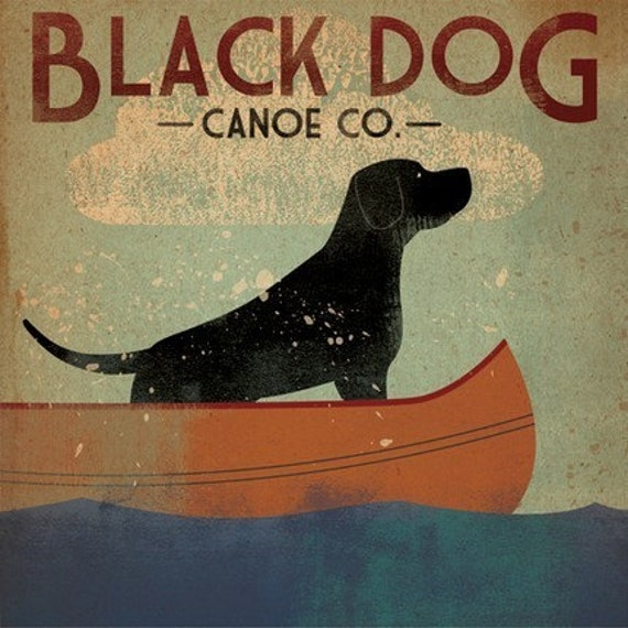 Black Dog Canoe Company Original Illustration 12x12 Canvas