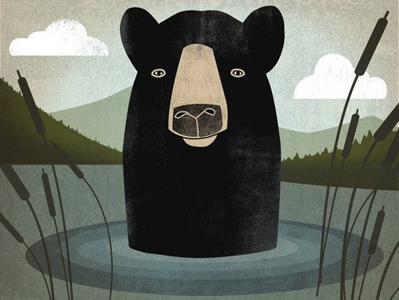 Black Bear Swim GRAPHIC ART illustration 7x9 GICLEE PRINT by Ryan Fowler Signed