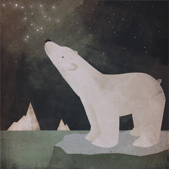 CONSTELLATIONS Polar Bear GRAPHIC ART ILLUSTRATION giclee print 12 x 12 inches SIGNED