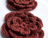 Crocheted flowers motif brown wool silk 3inch