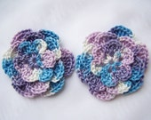 Crocheted flowers shaded lavender 2.5 inch embellishment