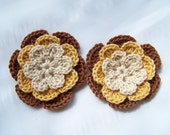 Appliques 2 hand crocheted flowers  3 inch embellishent sew on off white gold brown cotton