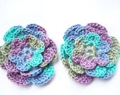 Appliques 2 hand crocheted flowers craft embellishment 3 inch multi color