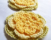 Crocheted flowers 3 inch yellow motif