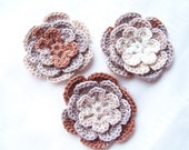 Crocheted flowers variegated white gray brown set of 3 motif 3 inch
