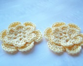 Appliques 2 hand crocheted flowers light yellow 2 inch