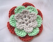 Flower crocheted appliques gray green 3 inch Egyptian cotton