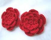 Crochet flowers  2.5inch applique red cotton
