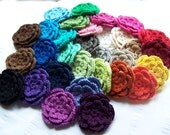 Crocheted flowers x 31 appliques 3 inch in rainbow colors