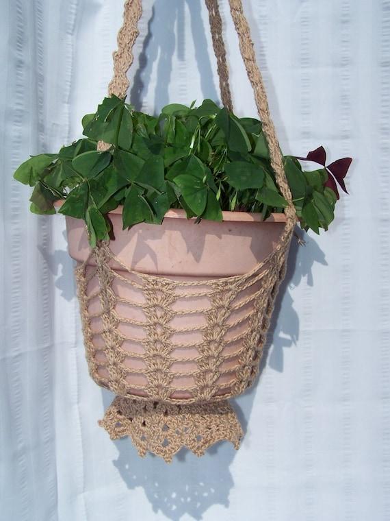 Flower hanging basket tan crocheted for flower pots plant ...