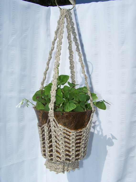 Flower hanging basket taupe crocheted for flower pots plant