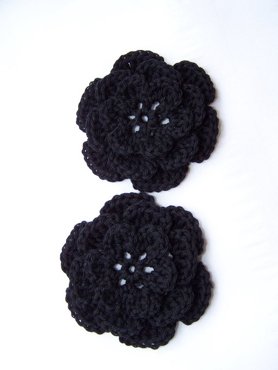 Flower set of 2 hand crochet black 3 inch cotton