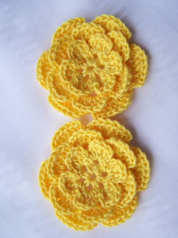 Crocheted flowers bright yellow 2.5 inch embellishment sew on