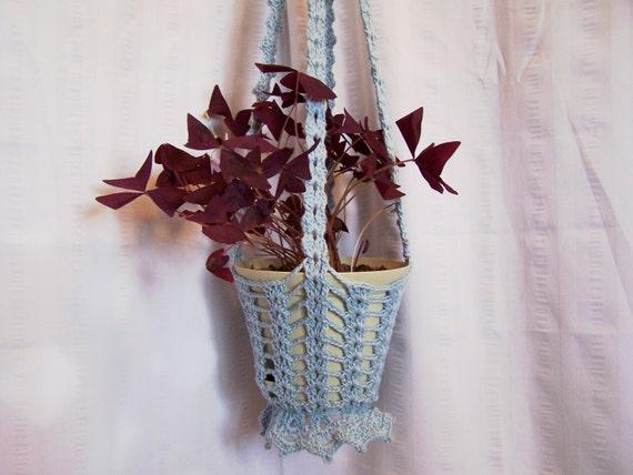 Flower hanging basket tan crocheted for flower pots plant