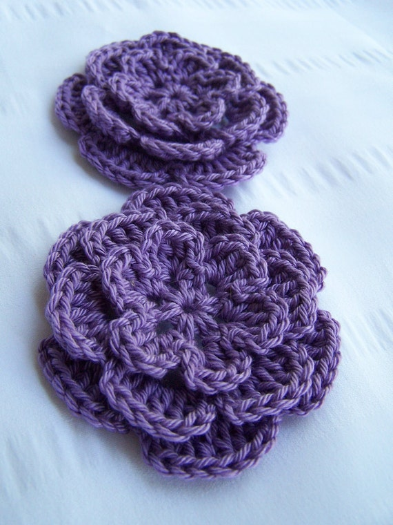 Appliques 2 hand crocheted flowers 3 inch embellishment sew on lavender purple