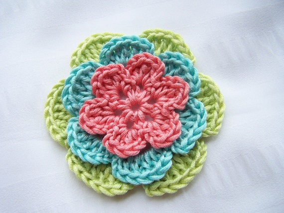Flower crocheted appliques 1 pink blue green 3 inch embellishment Egyptian cotton