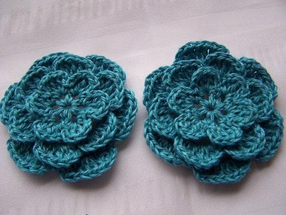 Crochet flower motif turquoise 2.5 inch motif