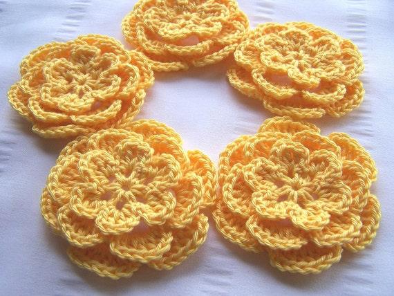 Appliques 5 hand crochet flower 3inch cotton yellow