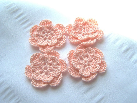 Crocheted flowers set of 4 peach cotton 1.5 inch