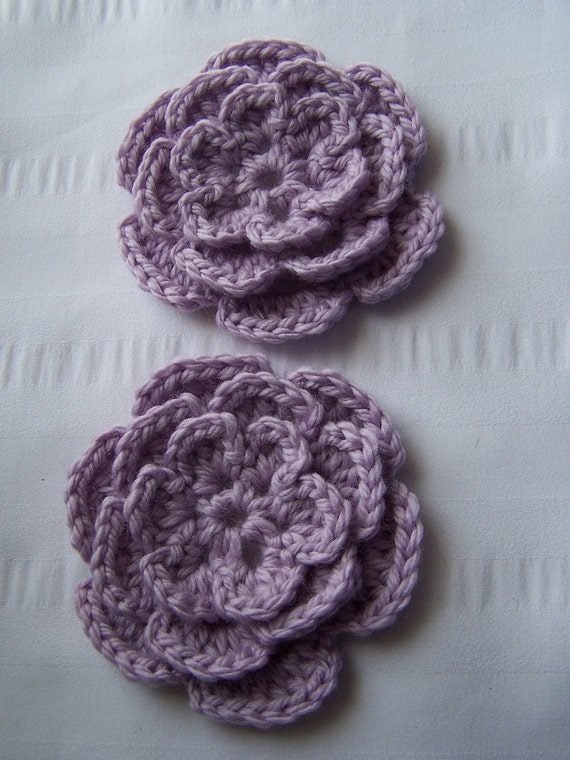 Appliques 2 hand crochet flower lavender craft embellishment 3.5 inch wool