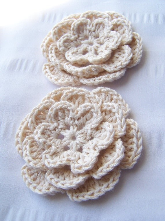 Appliques 2 hand crochet flowers 3 inch craft embellishment  organic cotton