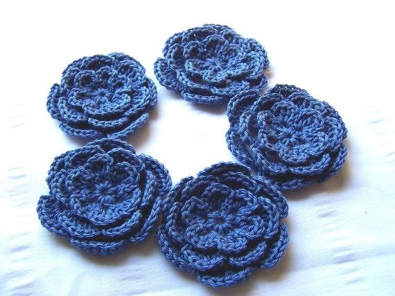 Appliques hand crochet flower set of 5 craft embellishment 3inch cotton blue
