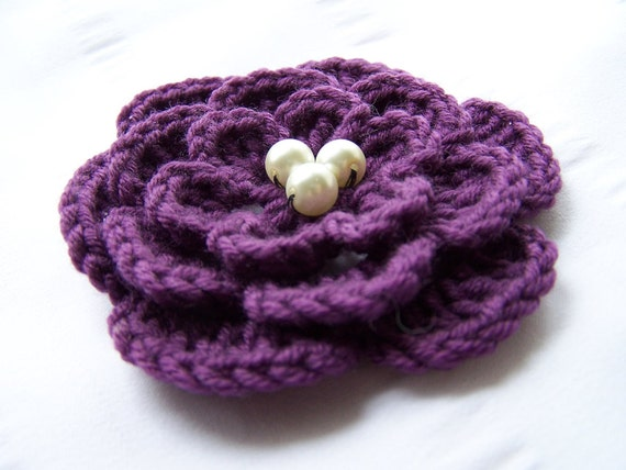 Crocheted flowers motif 3.5 inch deep purple with ivory beads fine wool