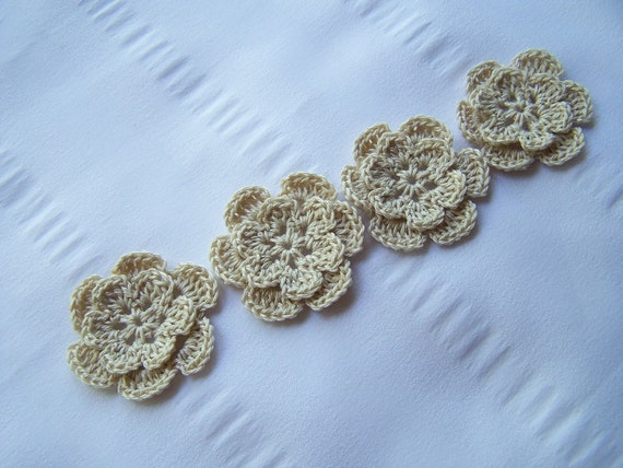 Appliques hand crocheted flowers embellishment set of 4 off white cotton 1.5 inch