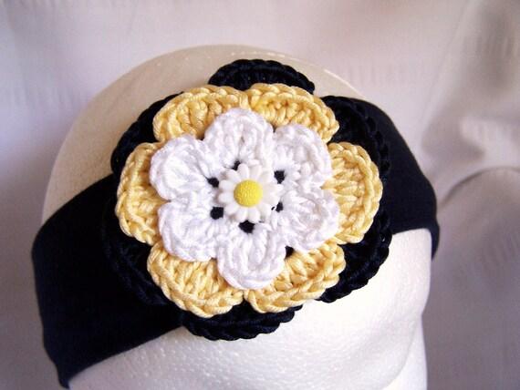 Headband  crochet flower  children
