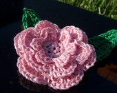 SALEsaleSALE Dusty Rose wrapped with Whisper White Triple Layer Crocheted Flowers - Set of 2
