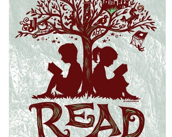 Reading Tree - 11x14 Art Print, Every Book An Adventure