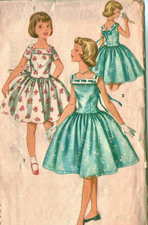 Girls' Party Dress Sewing Pattern Vintage 1950s by raegirl ...
