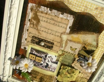 OneOfAKindArt-Daisy...Daisy..A Bicycle Built for Two- FRAMED ART COLLAGE
