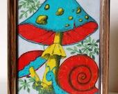 Vintage Retro Snail Mushroom Art 1970s Funky Kitsch Felt