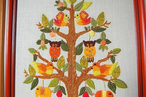 Retro Yarn Embroidery Framed Wall Art Orange By SackLunchTime