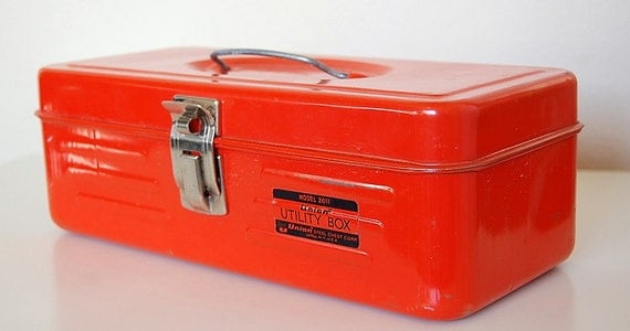 Vintage Retro Orange Metal Tool Box Union Utility Box