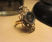 Decorative Typewriter Key Ring - Black or White