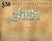 50 Dollar Gift Certificate for The Jane Soap Co, LLC - Handmade Soap, Lip Balms and Bath Salts