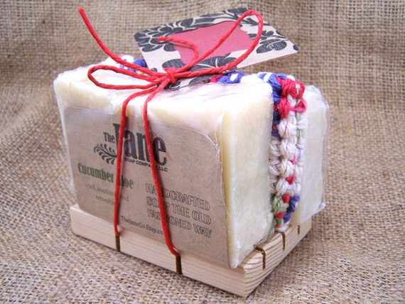 Gift Bundle - Handmade Soap, Crochet Cotton Wash Cloth, Wood Soap Dish