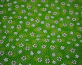 Green and White flower Cotton Fabric