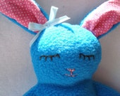 Plush sweet  fleece rabbit in  turquoise  and pink polka dots