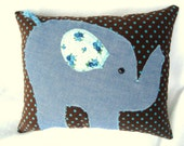 Applique elephant pillow in denim and brown corduroy with blue polka dots